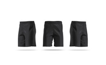 Blank Black Soccer Shorts Mock Up, Front And Side View