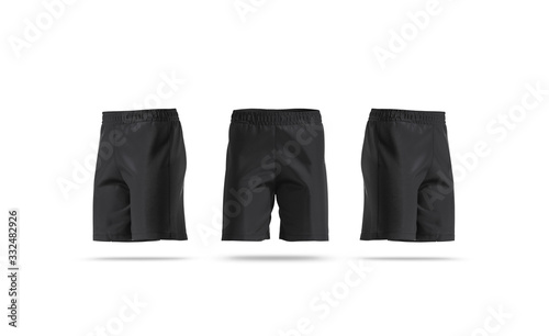 Fototapeta Blank black soccer shorts mock up, front and side view obraz