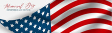 Memorial Day Banner, Website Or Newsletter Header. Background With American National Flag. United States Of America Holiday. Vector Illustration.