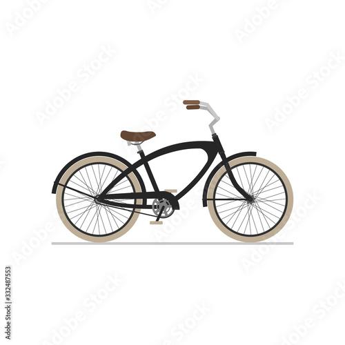 Obraz na plátně Male cruiser bike flat isolated icon on white background.