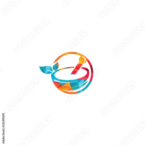 Fotografía Pharmacy medical logo design. Natural mortar and pestle logotype.