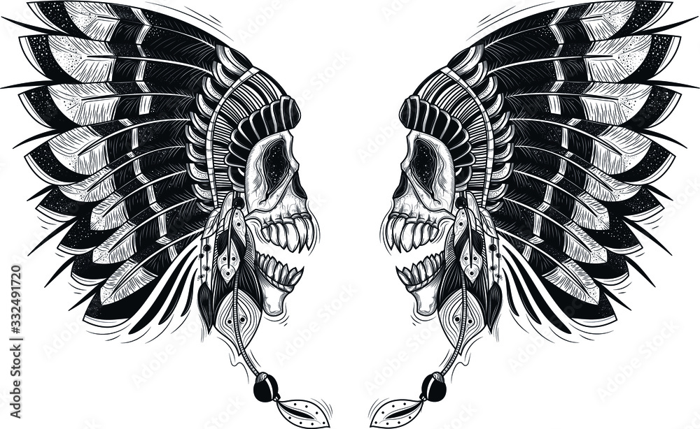Fototapeta Vector illustration of a template for a tattoo with a human skull in an indian feather hat