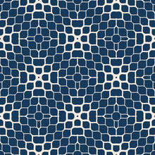 Vector Geometric Halftone Texture. Abstract Seamless Pattern With Gradient Transition Effect, Small Shapes, Mesh, Petals, Ripple Surface. Deep Blue And Beige Minimal Repeat Background. Modern Design