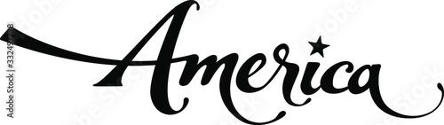 America - custom calligraphy text