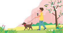 Man Walking Dog In Spring. Cute Vector Illustration In Flat Style.