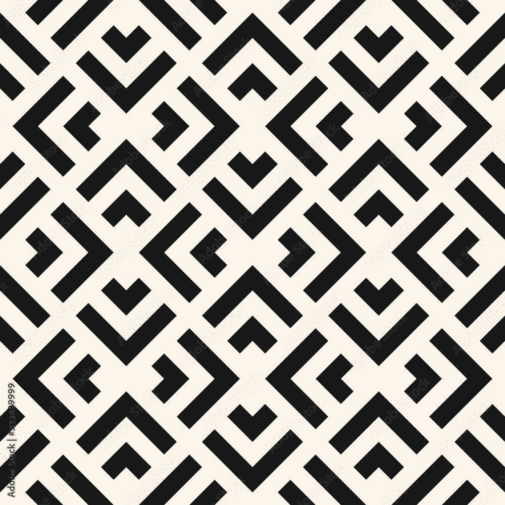 Fototapeta Vector geometric seamless pattern with squares, rhombuses, arrows, grid, lattice, net, mesh. Abstract black and white graphic ornament. Modern monochrome linear background texture. Repeat geo design
