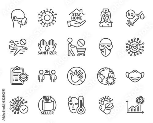 Valokuvatapetti Coronavirus line icons