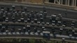 Arial Footage of urban highway traffic in rush hour