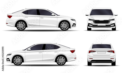 Cuadros en Lienzo realistic car. sedan. side view, front view, back view.