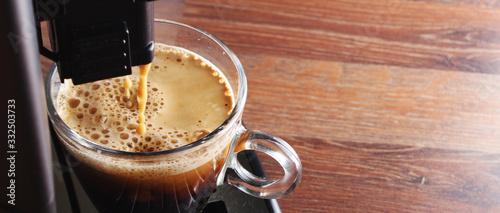 Obraz na plátně coffee glass espresso coffee machinewooden background
