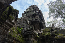 From Below Scenic Landscape Of Ruins Of Ancient Hindu Temple Of Angkor Wat In Cambodia