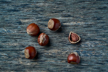 Brown Ripe Hazelnut On Table