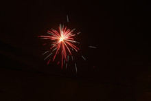 Colorful Red Gold Fireworks In The Black Sky
