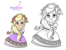 Cute Princess In Purple Dress Outlined And Color For Coloring Book