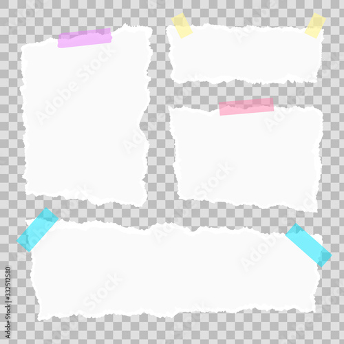 Fotografía Set of torn paper different shapes scraps with adhesive tape and paper clip isolated on transparent background