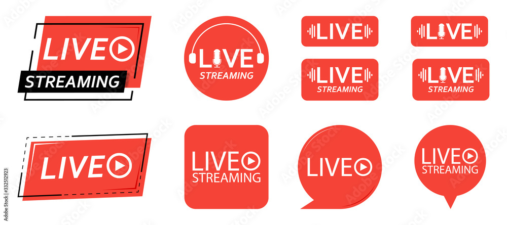 Fototapeta Set of live streaming icons. Red symbols and buttons of live streaming, broadcasting, online stream. third template for tv, shows, movies and live performances. Vector illustration.