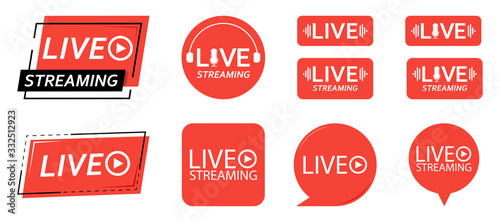 Fototapeta Set of live streaming icons. Red symbols and buttons of live streaming, broadcasting, online stream. third template for tv, shows, movies and live performances. Vector illustration. obraz