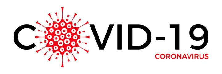 Coronavirus Covid-19 virus icon and text. Vector illustration