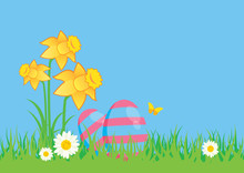 Easter Eggs On Meadow With Daffodils Vector. Spring Easter Meadow Vector. Easter Greeting Card With Copy Space For Text. Pink And Green Easter Eggs Vector. Yellow Daffodils With Painted Easter Eggs