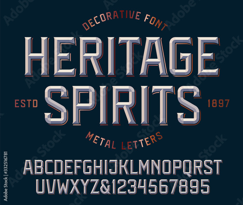 Obraz na plátne Classic victorian font, metallic beveled alphabet and numbers