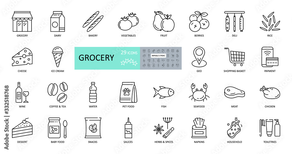 Fototapeta Vector set of 29 grocery icons with editable stroke. Images of the departments of the grocery store, online sales, geo delivery, consumer basket, dairy and meat products, bread, vegetables, fruits