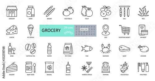 Fotomural Vector set of 29 grocery icons with editable stroke