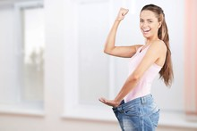 Young Happy Smile Thin Woman. Weight Loss Concept