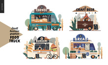 Food Trucks -small Business Graphics. Modern Flat Vector Concept Illustrations -set Of Vans Vending Outdoor. Coffee Shop, Craft Beer Cart With Umbrella, Burgers, Bread Of Bakery