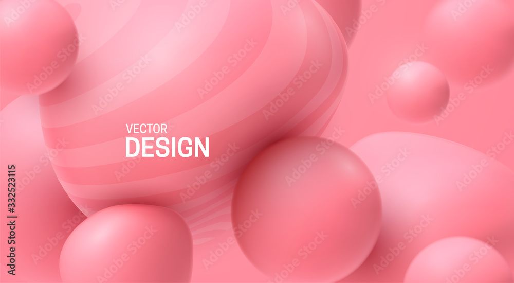 Fototapeta Soft pink spheres. Bubble gum smooth shapes backdrop. Vector 3d illustration. Abstract sweet background. Minimal poster design. Dynamic particles. Colorful bubbles. Fashion banner template