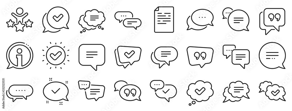 Fototapeta Approved, Checkmark box and Social media message. Chat and quote line icons. Chat speech bubble, Tick or check mark, Comment quote icons. Think, approved talk, speech bubble. Vector