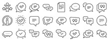 Approved, Checkmark Box And Social Media Message. Chat And Quote Line Icons. Chat Speech Bubble, Tick Or Check Mark, Comment Quote Icons. Think, Approved Talk, Speech Bubble. Vector
