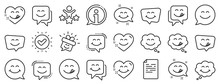 Emoticon Speech Bubble, Social Media Message, Smile With Tongue. Yummy Smile Line Icons. Tasty Food Eating Emoji Face Icons. Delicious Yummy Speech Bubble, Happy Emoticon. Vector