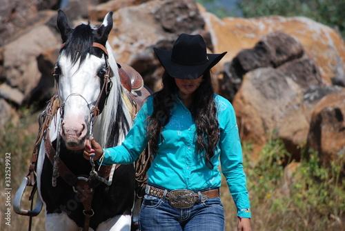 Obraz na plátně cowgirl and horse