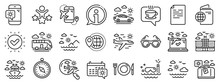 Passport, Luggage, Check In Airport Icons. Travel Line Icons. Airplane Flight, Sunglasses, Hotel Building. Passport Check In Document, Sea Diving. Restaurant Hotel Food, Luggage Travel. Vector