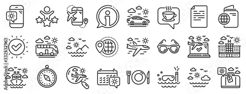 Fototapeta Passport, Luggage, Check in airport icons. Travel line icons. Airplane flight, Sunglasses, Hotel building. Passport check in document, Sea diving. Restaurant hotel food, luggage travel. Vector obraz