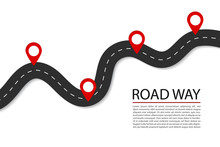 Flat Road With Pins.Highway Fo...