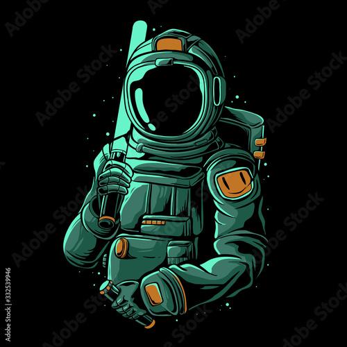 Astronaut holding laser sword vector illustration. Trendy astronaut design for sticker, t-shirt, or poster