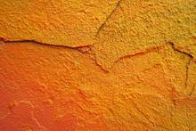 Large Crack On An Orange Old P...