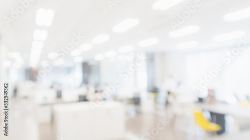 Fototapeta Abstract blurred interior modern office space with business people working banner background with copy space. obraz