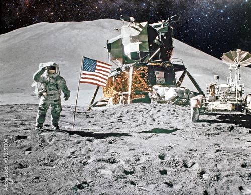 Astronaut on lunar (moon) landing mission Fototapeta