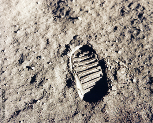 Photo Astronaut's boot print on lunar (moon) landing mission