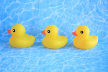 Three Rubber Ducks In A Row On A Water Background.