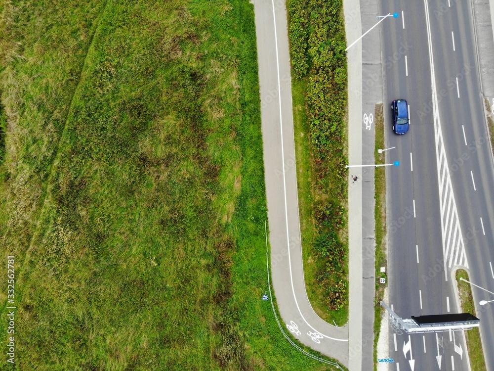 Fototapeta parking z lotu ptaka pusty pandemia  - obraz na płótnie