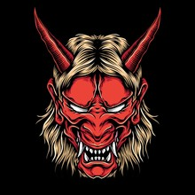 Anger Demon Oni Mask Vector