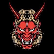 Anger Demon Oni Mask Vector