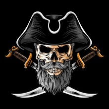 Skull Pirate With Two Sword Ve...