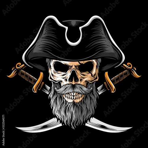 skull pirate with two sword vector Canvas Print