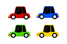 Car Vehicle Red Blue Green Yellow Color Isolated On White, Clip Art Cartoon Vehicle Car Cute For Kid Concept, Illustration Car Toy For Kids Learning, Auto Car Vehicle Icon Toy Colorful, Simple Vehicle