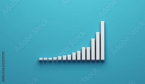Fototapeta Data Growth number of total cases graph. 3D Render illustration obraz