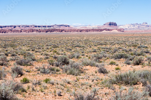 Red desert landscape along scenic highway 24 in Utah, USA